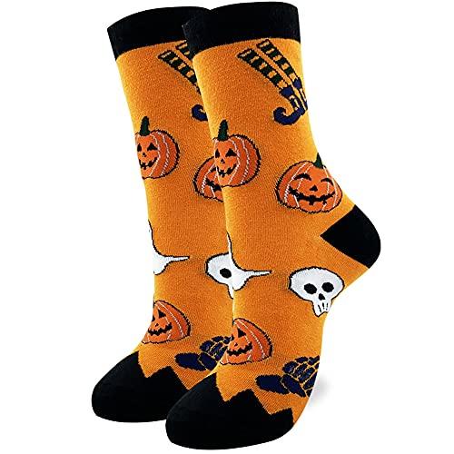 Halloween Novelty Socks For Women Funny Crew Socks Halloween Pumpkins Socks Adult Shoe Size 6-12 Fun Socks