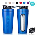 28oz Stainless Steel Classic Protein Mixer Shaker Bottle Dishwasher Safe BPA Free Leak Proof Mixing Shaker Cup Large Portable Loop Flip top For Sports Fitness Nutrition (BLUE)