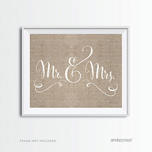 Andaz Press Wedding Party Signs, Country Chic Burlap Print, 8.5x11-inch, Mr. & Mrs., 1-Pack, For Ceremony Reception Decor Decorations