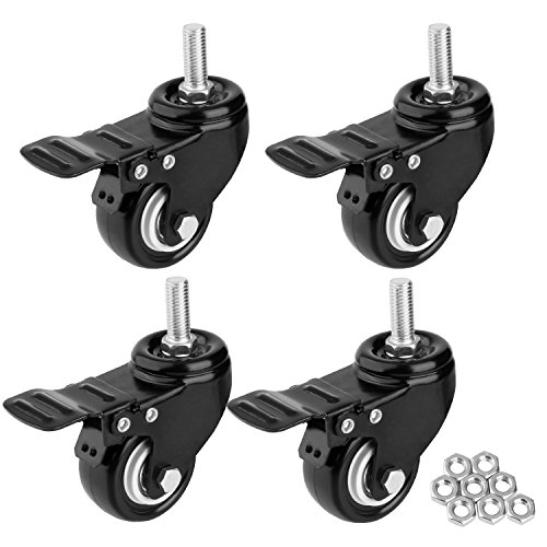 """2"""" Stem Casters, Heavy Duty Swivel Caster Wheels with M10x25 Threaded Stem and Nuts for Carts, Trolley, Workbench, Furniture (Pack of 4)"""