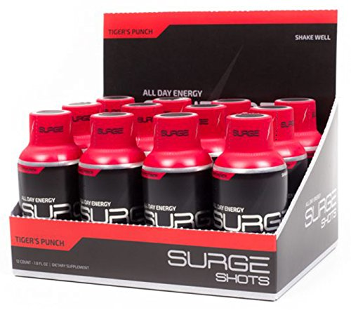 Surge Supplements - Surge Shots - Extreme Long Lasting Natural Energy, Daily Dose of B-Vitamins, Supports Mental Focus with Added Citrulline, Creatine, Agmatine - Tiger's Punch - 12 Count Box by Surge Supplements