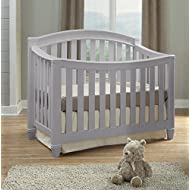 Thomasville Kids Highlands 4-in-1 Convertible Crib, Pebble Gray, Easily Converts to Toddler Bed Day Bed or Full Bed, Three Position Adjustable Height Mattress, Some Assembly Required