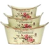 """Tin Decoupage Cache Pots, Set of 3 - 11.5""""Lx6.75""""Wx5.25""""H - Belle Jardiniere"""