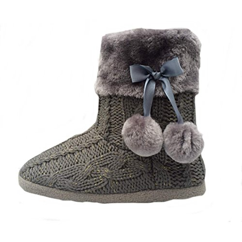 Ladies Slippers Womens Indoor Slipper Boots with knitted upper and Pom Poms (Medium-US 7-8, Grey) (House Shoes Boots compare prices)