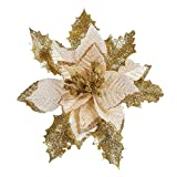 Neomark 6 Pieces 17 cm Artificial Poinsettia Flower For Christmas Tree Wreath House Decoration Blue Red Golden With Shining Edge (golden)