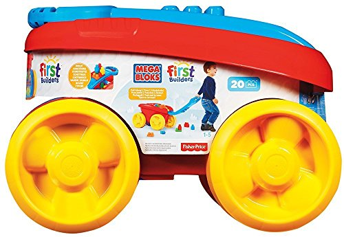 Mega Bloks First Builders Block Scooping Wagon Picks Up Blocks-20 Bloks (Mega Blocks Wagon)