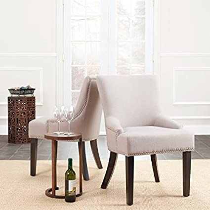 Strange Safavieh Mcr4700A Set2 Mercer Collection Christine Beige Linen Nailhead Dining Chair Set Of 2 Bralicious Painted Fabric Chair Ideas Braliciousco
