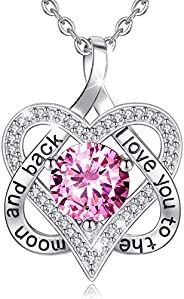 EUDORA Heart Necklace I Love You for Always and Forever CZ S925 Sterling Silver Necklace, I Love You Three Tho