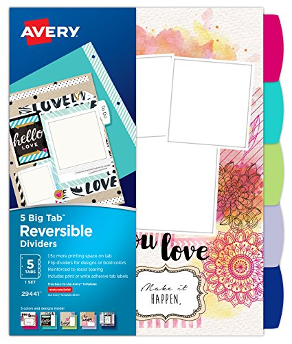 Avery Big Tab Reversible Fashion Dividers, Assorted Designs, 5-Tab Set (29441)