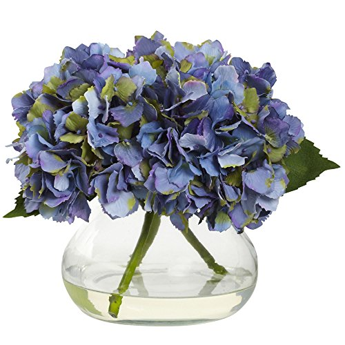 Nearly Natural 1356-BL Blooming Hydrangea with Vase, (Nearly Natural Silk Flower)