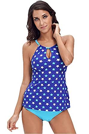 FIYOTE Women Coastal Geo Print Banded Tankini Top with Triangle Briefs Bikini Set (S, Star Blue)