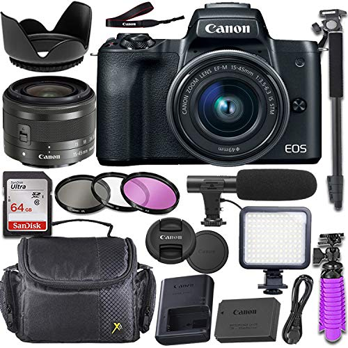 Canon EOS M50 Mirrorless Camera with Canon 15-45mm f/3.5-6.3 is STM Lens + Deluxe Video-Accessory Bundle