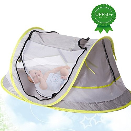 Portable Baby Beach Tent Pop up Bed Lightweight Travel Crib Bed Outdoor Backpacking Tent - UPF 50+ Anti-UV - Sun Shelter Mosquito Net for Infant by Yobom