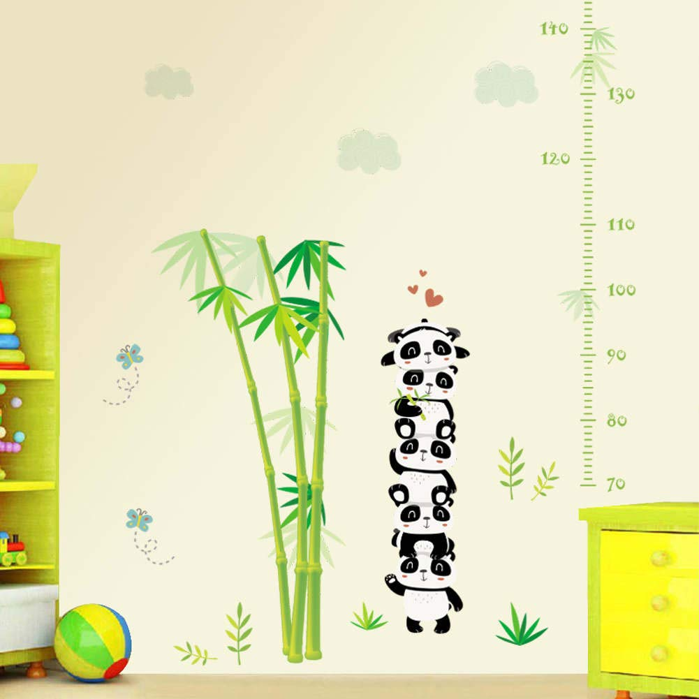 BIBITIME Nursery Growth Chart Minimum scale:70 cm; Max:170 cm Bamboo Wall Decor Stciker Butterfly Stacked Panda Height Chart Decal Stickers for Nursery Bedroom Children Kids Room School Classroom
