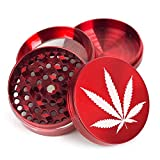"2"" 4pc Marijuana Leaf Design Metal Hand Muller Herb Spice Tobacco Grinder (Red)"