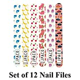 12 PCS Professional Girly Nail Files - 100/180 Grit Size