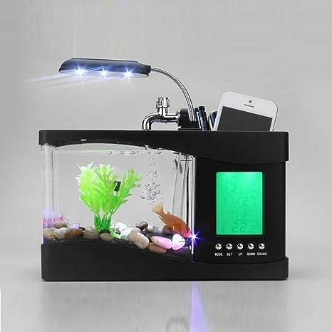 RainBabe Mini USB Escritorio Pantalla LCD Acuario de Reloj Pecera Luz Lámpara,Ornamentos Fish Tank