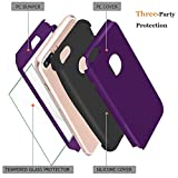 """iPhone 7 Case,Qusum 3-in-1 Shockproof Full Body Coverage Protection Hard Slim iPhone 7 Case with Tempered Glass Screen Protector for Apple iPhone 7 4.7"""" Inch (Purple)"""