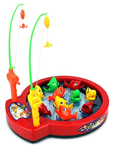 Bass beat rotating battery operated novelty toy fishing for Fishing toy set