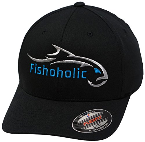 Fishoholic R Baseball Fishing Hat - Bend Your Rod Fishaholic Flexfit or Camo Trucker Snapback - Regular or 3D/Puff - Bend Your Rod you USPTO Registered Trademark (R) (Black/Silver-Blue, Large/X-Large) - Crab Puff