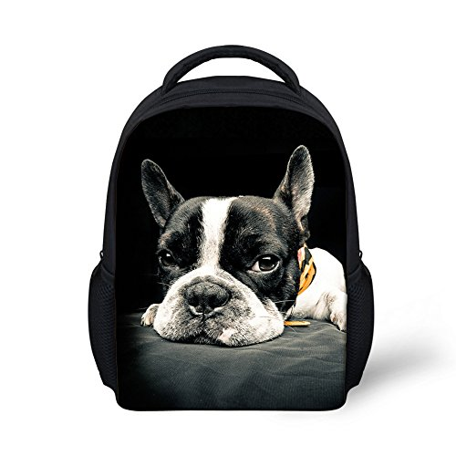 Showudesigns Boston Terrier Design School Backpack for Toddler Baby Kids Bookbag Black (Baby Boston Bag)