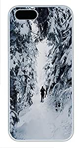 iPhone 5 5S Case landscapes nature snow road 7 PC Custom iPhone 5 5S Case Cover White