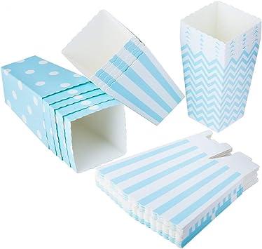 ED-Lumos Juego de 36 pcs Cajas de Palomitas cartón envase de Papel contenedores para Palomitas Galletas Patatas Fritas Forma Lunares Rayas Línea Ondulada Color Azul: Amazon.es: Juguetes y juegos