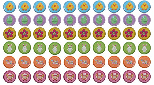 Set of 60 Easter Children's Craft Stamps! 6 Assorted Stamps with 6 Assorted Colors! Adorable Stamps Perfect for Easter Crafts, Easter Basket Toys, Scrapbooking, and More! Conforms to ASTM-D4236