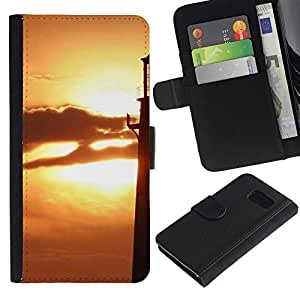 iBinBang / Flip Funda de Cuero Case Cover - Sunset Beautiful Nature 74 - Samsung Galaxy S6 SM-G920