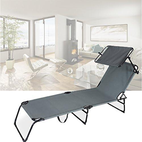 HG® Negro Jardín plegable césped con techo solar Cama solar Camping 189cm Cargable 110kg: Amazon.es: Jardín
