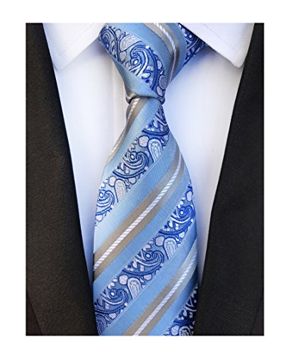 Men's Silk Slim Ties Sky Blue Grey White Stripe Formal Neckties Valentine's day