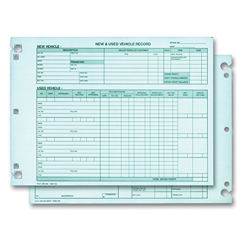 Vehicle Inventory Records - 2 Sided (Form# GM-532 (Green Ink))