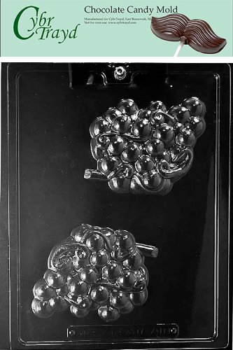 Cybrtrayd Life of the Party F118 Grape Cluster Fruit Wine Chocolate Candy Mold in Sealed Protective Poly Bag Imprinted with Copyrighted Cybrtrayd Molding Instructions