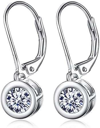 925 Sterling Silver Women's Ball Drop Lever Back Earrings