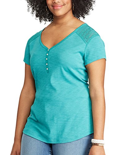 Chaps Women's Plus-Size Lace Yoke Short Sleeve Henley Tee (Vintage Teal, (Womens Vintage Chaps)