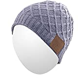 Qshell Winter Washable Bluetooth Music Beanie Warm Soft Knitted Short Striped Hat Cap with Wireless Headphone Headset Earphone Mic Hands Free for Excrise Gym Sports Fitness Running Skiing - Gray