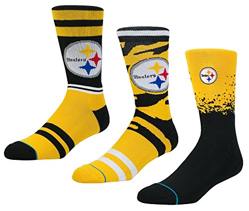 (Stance Men's NFL Sock Bundle Box Sets (Steelers, Large))