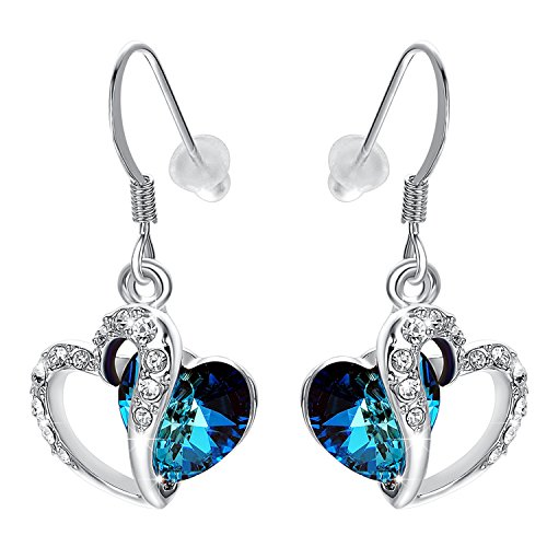 Yoursfs Blue Crystal Heart Earrings For Women Silver Plated Double heart