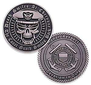 Coast Guard Death Smiles Challenge Coin - USCC Military Challenge Coin - Officially Licensed - Designed By Military Veterans by Coins For Anything Inc
