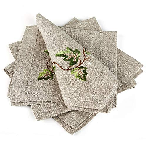 "TkLets78 Table Napkins Gray Ivy Set of 4 Size 16""x16"" 100% European Linen for Kitchen, Dining & Bar from TkLets78"