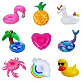 9-Pack Inflatable Drink Holder Drinks Floats for Pool Party Summer Water Floatation Toy - Unicorn, Flamingo, Mermaid, Rainbow, Pineapple, Crab, Coconut tree, Heart, Duck