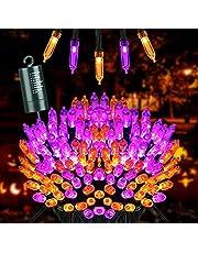 Joomer Oranje en Paars Halloween Lichtslingers, 10M 100 LED Batterij Aangedreven Kerstverlichting Waterdicht met 8 Standen & Automatische Timer voor Halloween Decoraties