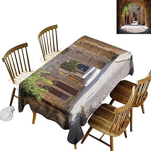 (Printed Rectangular Tablecloth W54 x L72 Tuscan Ancient Italian Street in a Small Provincial Town of Tuscan Italy European Brown Green Grey Great for Outdoors & More)