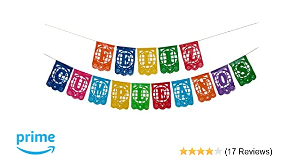 Paper Full of Wishes Small Plastic Banner I Feliz Cumpleaños I Mexican Papel Picado Letrero