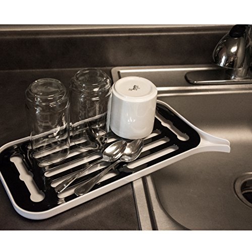 Plastic Dish Drying Rack, Kitchen Counter Draining Tray, Black & White (Dish Pans Plastic Black compare prices)