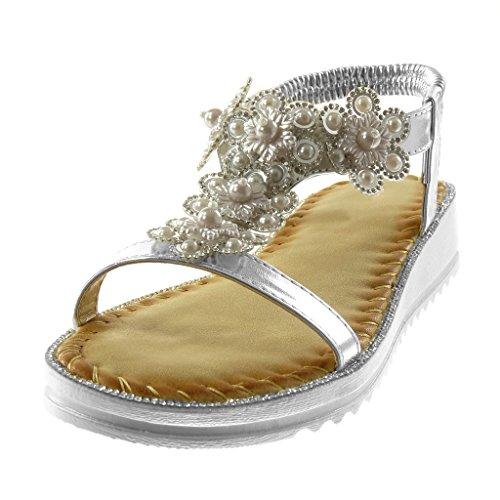Lanière Mode Chaussure Slip 3 Femme Fleurs Talon Argent Diamant Cheville On Salomés Sandale Angkorly Fantaisie Strass Compensé cm IwHxqH