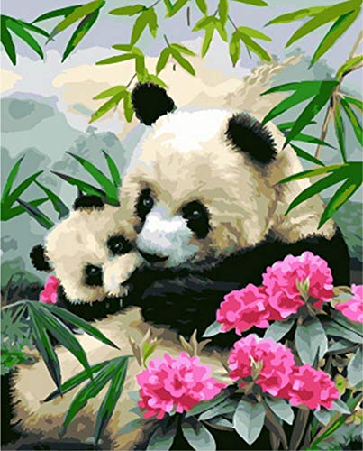 - ABEUTY DIY Paint by Numbers for Adults Beginner - Panda Mother and Child & Bamboo Flowers 16x20 inches Number Painting Anti Stress Toys