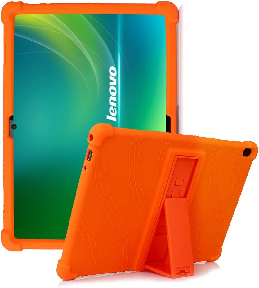 """HminSen Case for Lenovo Smart Tab P10 / M10 / M10 HD 10.1 Case, Shockproof Silicone Stand Cover for Lenovo Tab P10 TB-X705F TB-X705L / M10 HD TB-X505F TB-X505L / M10 TB-X605F 10.1"""" Tablet (Orange)"""