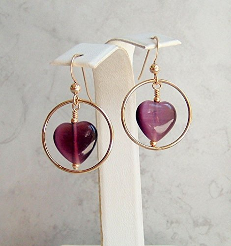 Purple Heart Cat's Eye Glass Circle Frame Gold Filled Fish Hook Earwire Earrings Gift - Latest For Frames Eyeglasses