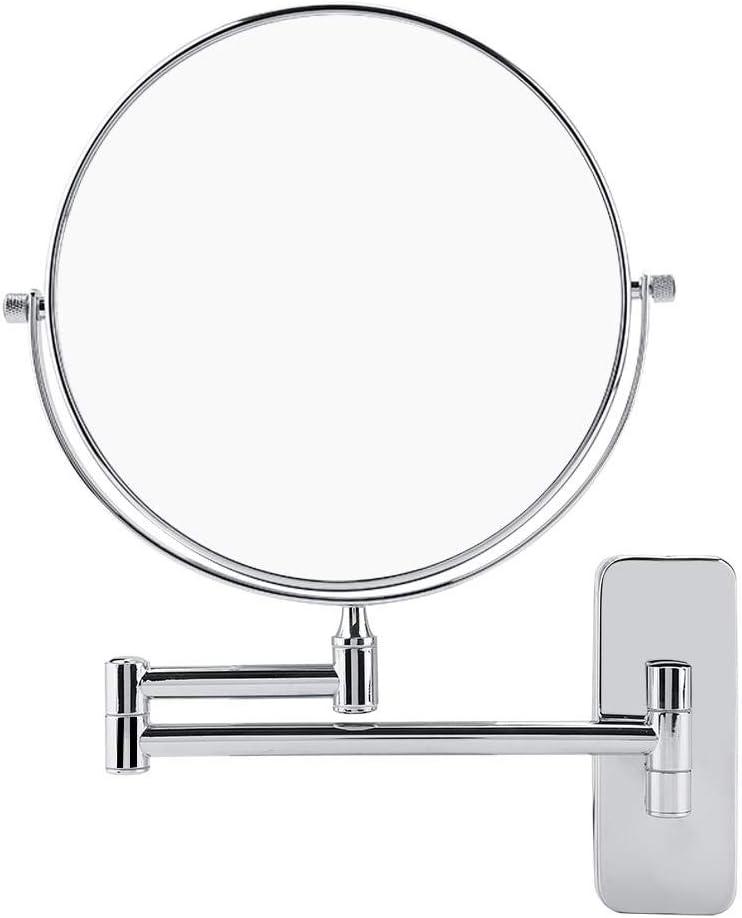 Vergr/ö/ßerungs-Doppelseiten-Schminkspiegel um 360 Grad drehbarer wandmontierter Kosmetikspiegel mit Halterung Kosmetikspiegel LED Wand Schminkspiegel